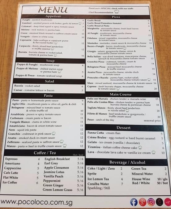 pocoloco menu
